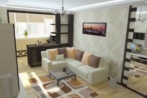 Объединение балкона с гостиной