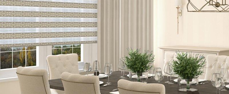 Рулонные шторы UNI2-ЗЕБРА (BESTA) для пластиковых окон с любой глубиной штапика